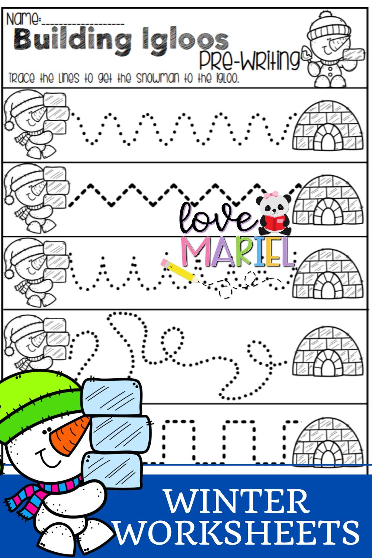 Winter Building Igloos Pre Writing Worksheet In 2021 Winter Math Winter Math Kindergarten Literacy Worksheets [ 1500 x 1000 Pixel ]