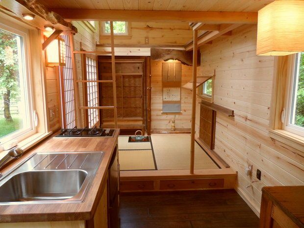 Japanese style tiny house by oregon cottage company a tatami mat tea room in a 134 sq