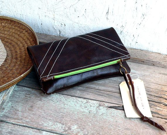 Leather clutch / zippered fold over clutch purse  by FeralEmpire, $60.00