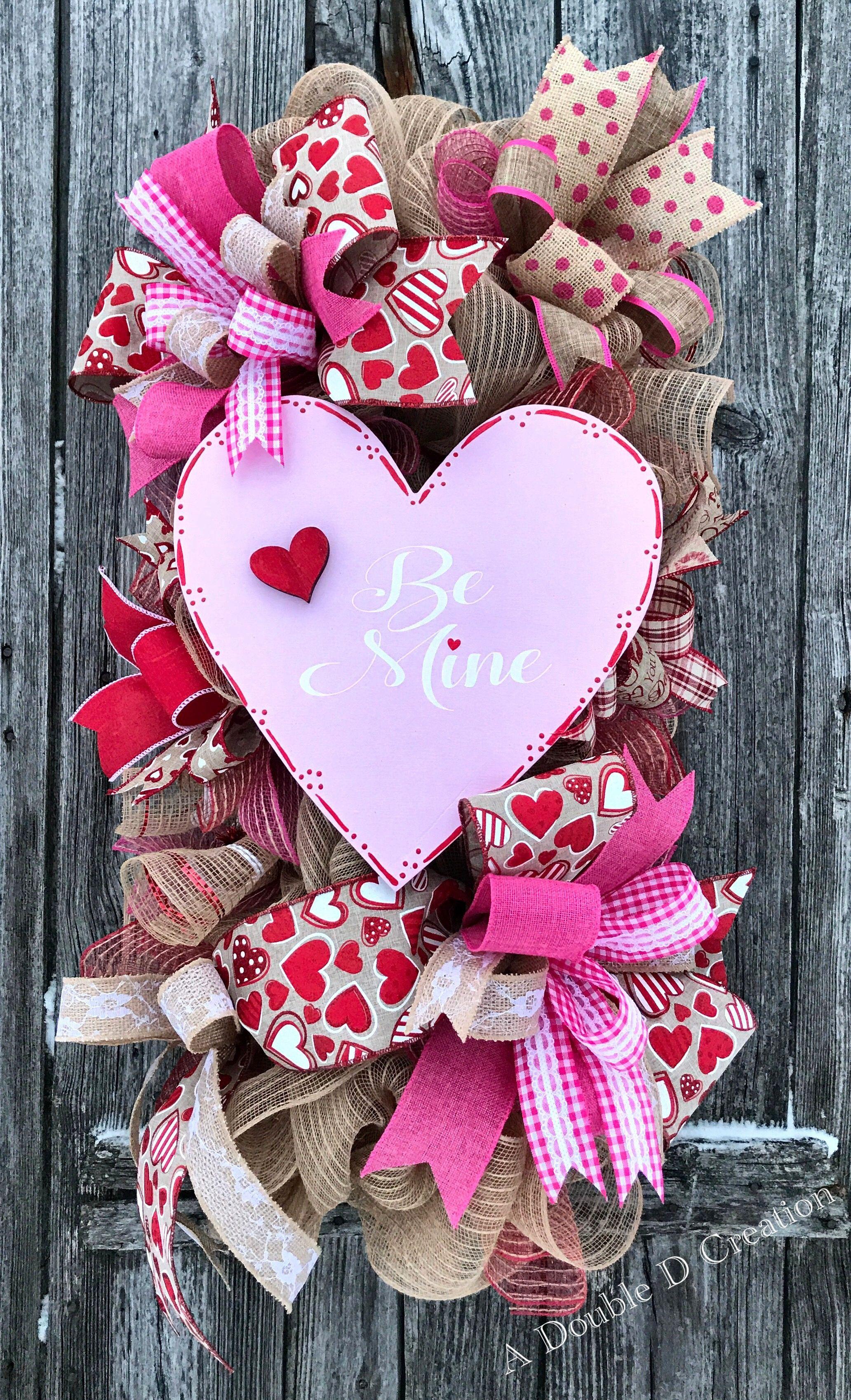Adoubledcreation Etsy Valentines Diy Valentine Wreath Day Decorations Deco