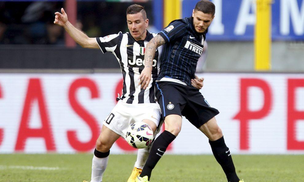 Il gol di Morata porta in vantaggio sull'Inter i bianconeri che avevano trovato il pareggio con Marchisio dopo la rete di Icardi