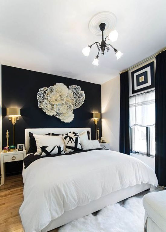 Refined Black And White Bedroom With A Statement Wall Blue Master Bedroom Beige Bedroom Decor Black Walls Bedroom