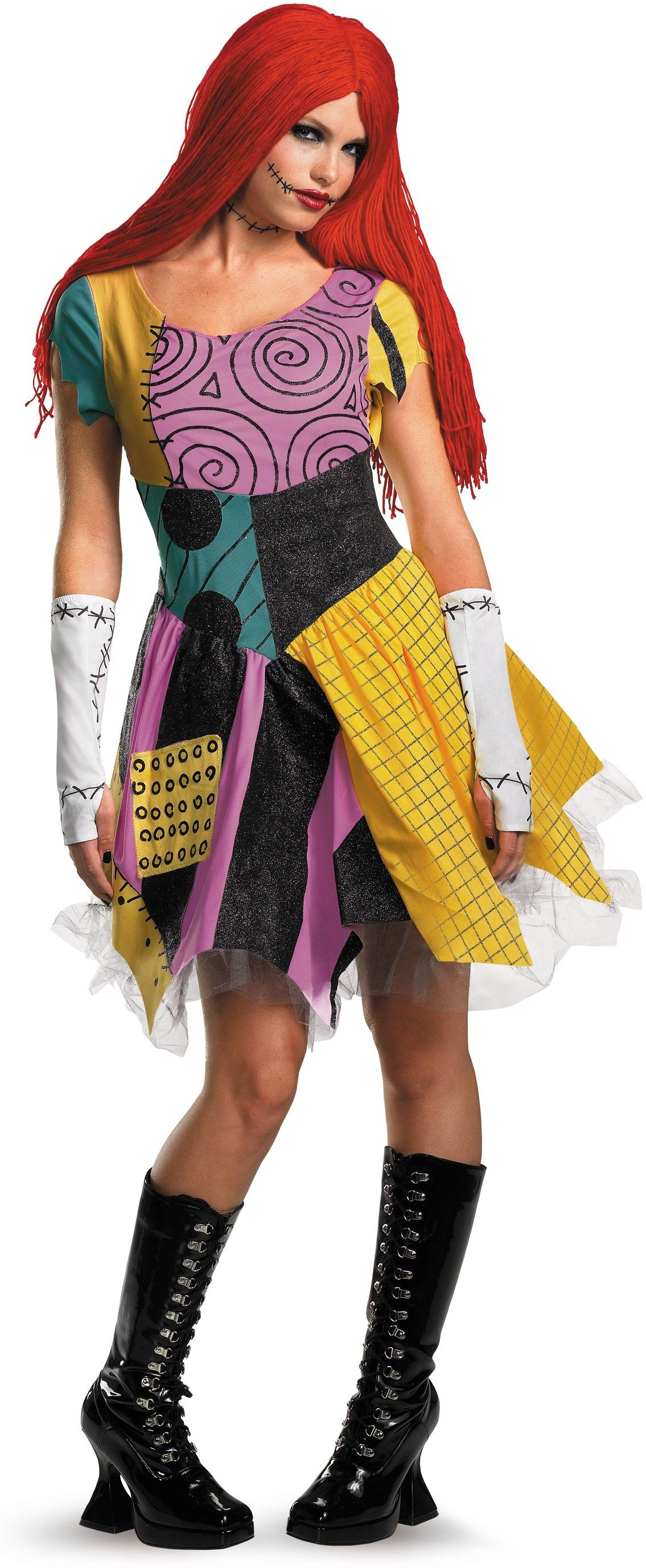 Nightmare Before Christmas Adult sally dress Costume  girl Halloween Fancy gown