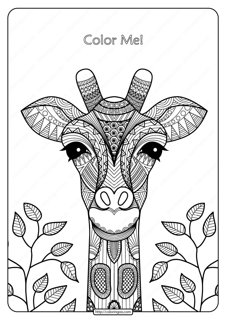 Printable Giraffe Mandala Pdf Coloring Page Giraffe Coloring Pages Animal Coloring Pages Giraffe Artwork