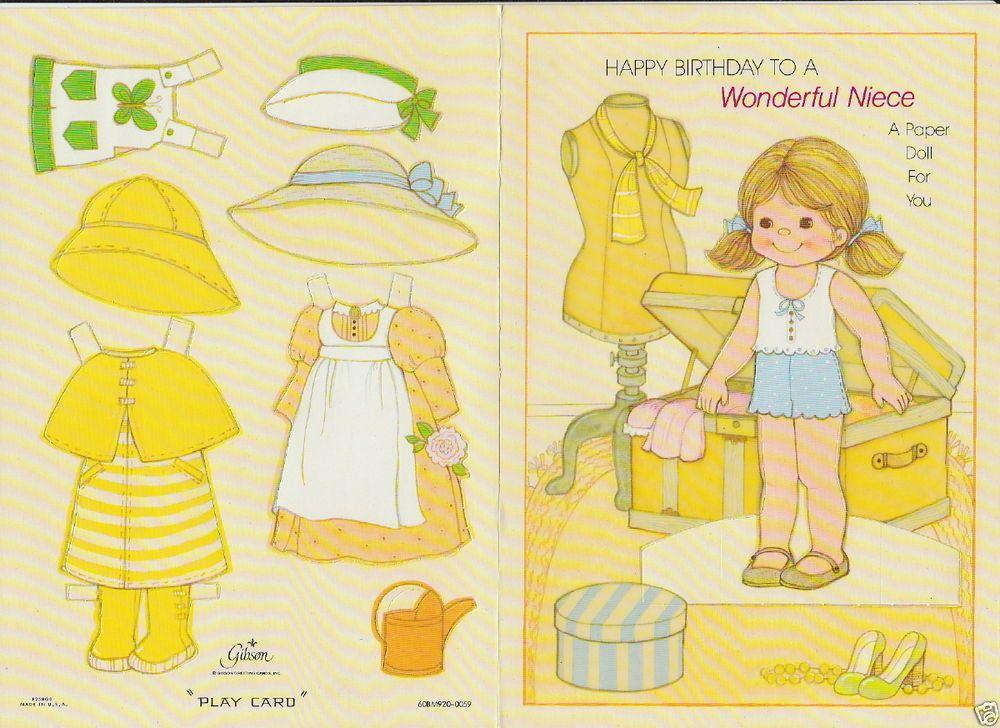 Birthday Niece Greeting Paper Doll Card RARE Uncut Vintage