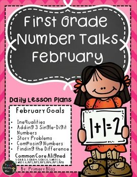Do you want to increase student-to-student mathematical discourse and students' abilities to be flexible mathematical thinkers? Number talks is the perfect way to achieve that goal. With this unit you will receive a month's worth of highly engaging number talks specifically geared for February of first grade.