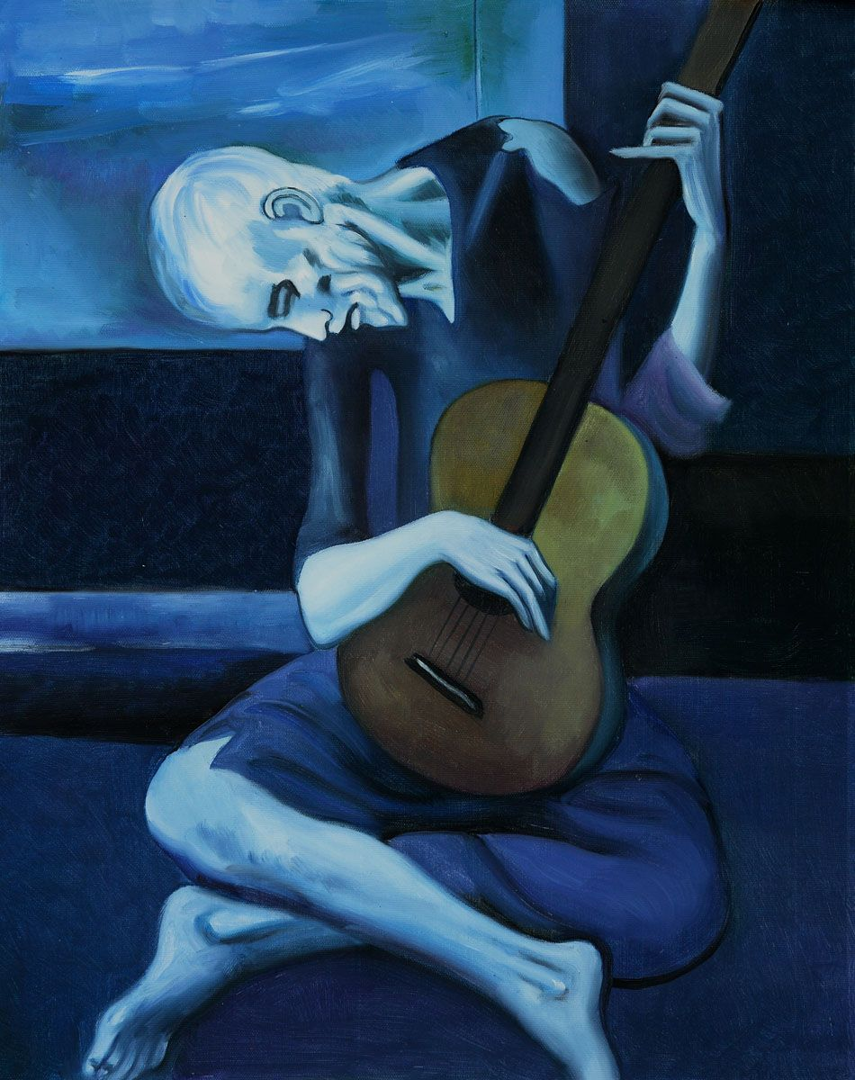picassos old guitarist The old guitarist is in suffering the image of the friend of picasso on his bed of death is always present in its spirit and seems to haunt it, the fabric is an attempt at exorcism of this state of heart.