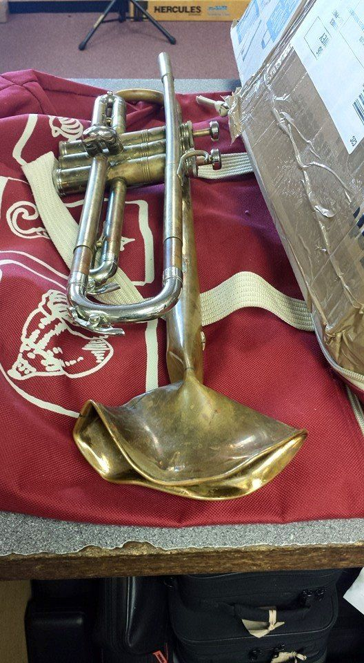 When we received this Trumpet for repair, the bell had been