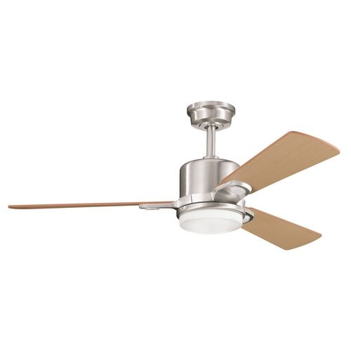 Kichler modern ceiling fan with light in steel finish at destination lighting