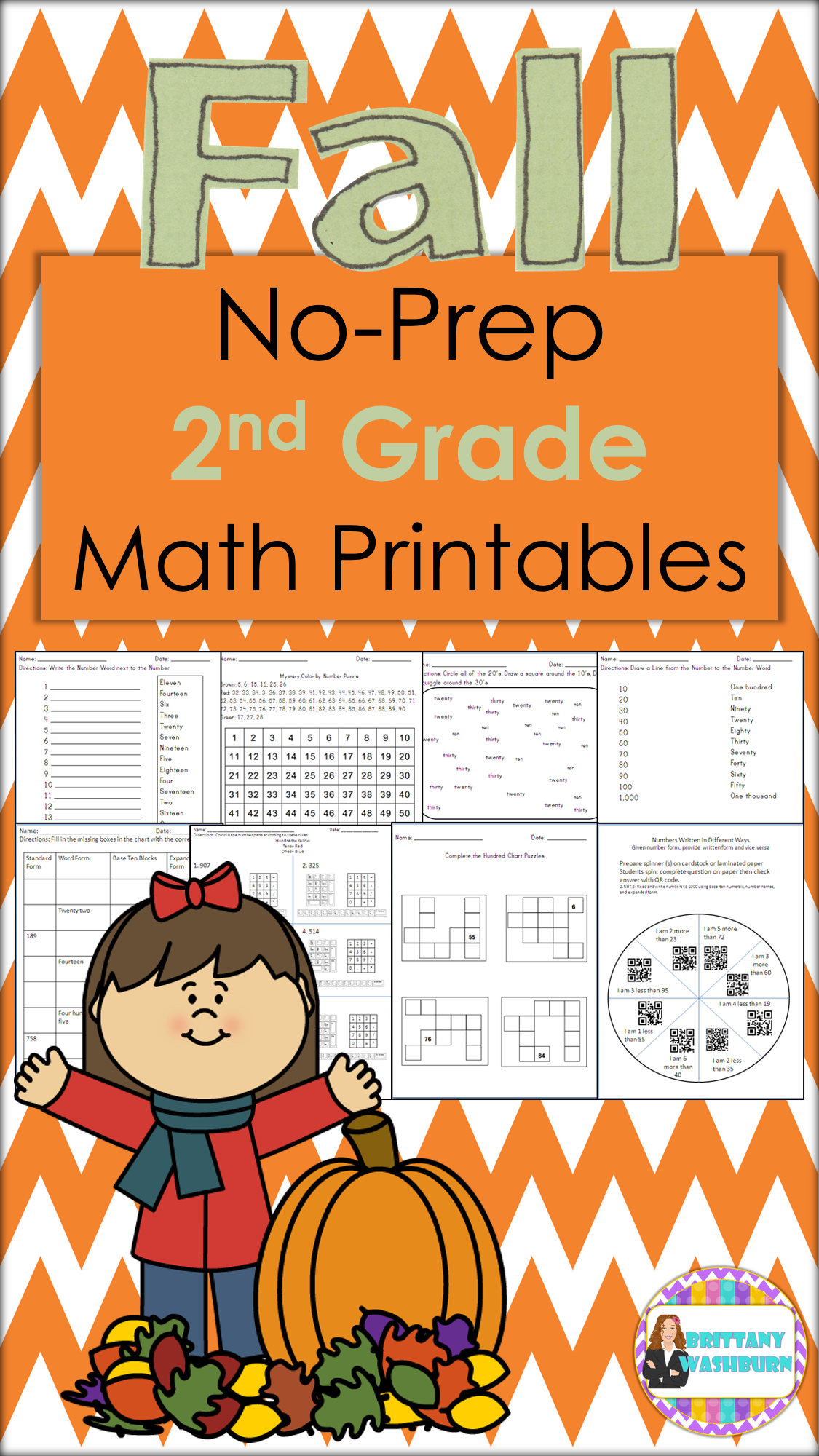 Fall Math Packet No Prep 2nd Grade