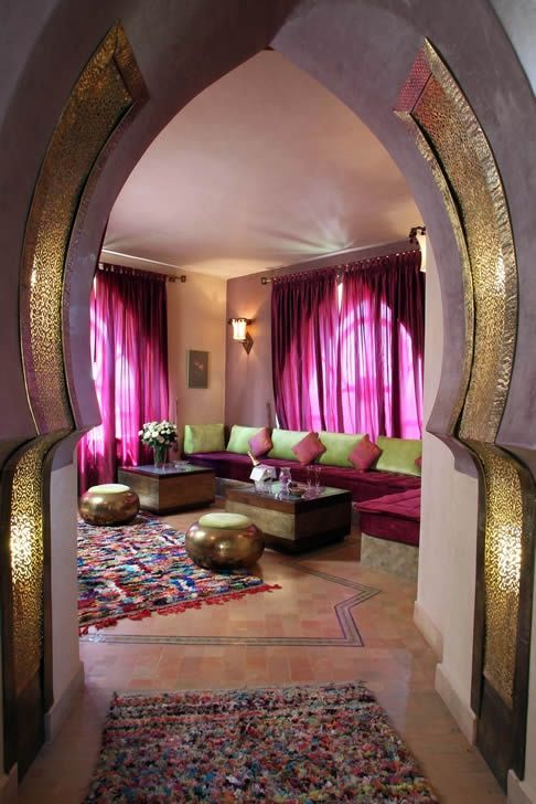 Beautiful entryway into a Moroccan inspired living room