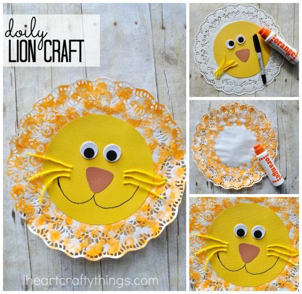 Doily Lion Kids Craft   ANIMALS...MAKING...   Lion kids ...