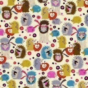 Michael Miller Hedgehog Meadow Cream Fabric