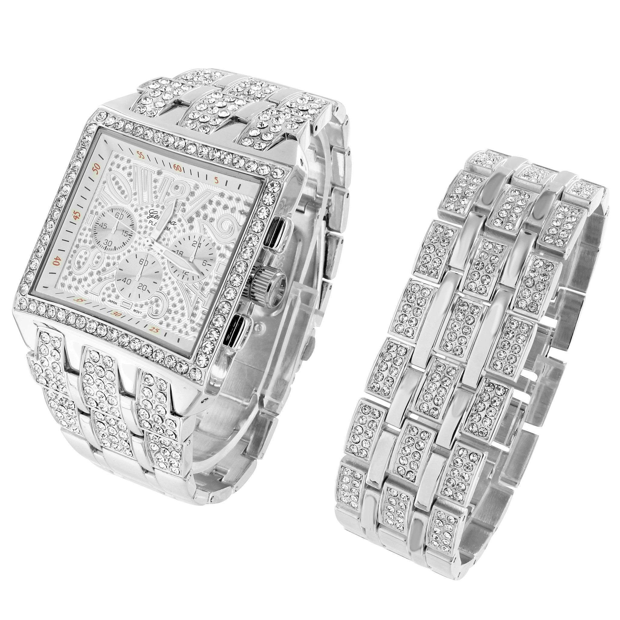 Iced out square face watch hip hop simulated diamonds mens