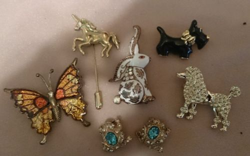 Vintage figural brooch Rhinestone pin lot Scottie dog poodle frog rabbit unicorn