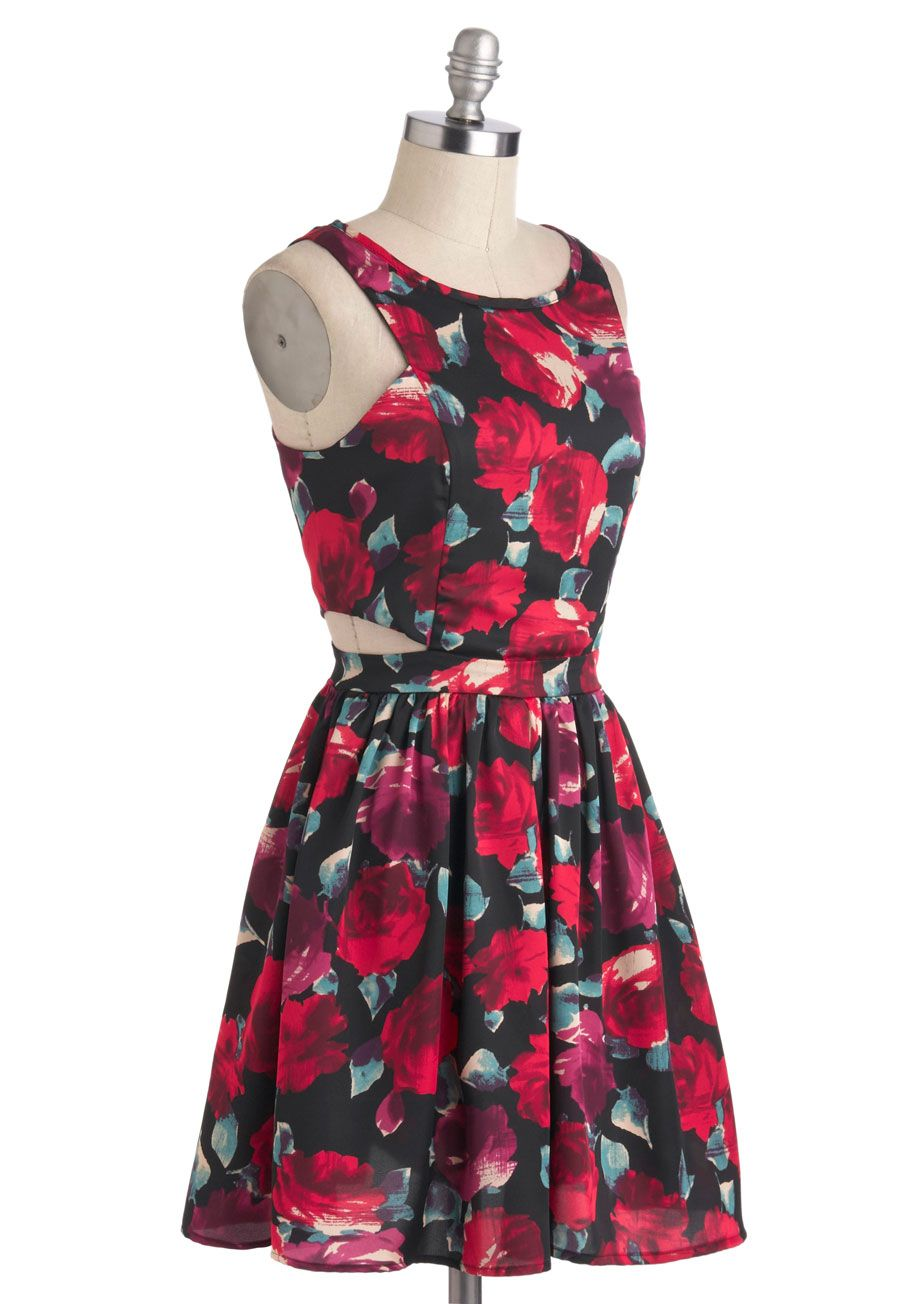 The flowers that be statement necklace garden dress rose and modcloth