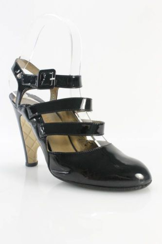 4ca291ba80452 Chanel Black Patent Leather Quilted Mary Jane Wedges Sz 36 5 6 5 ...