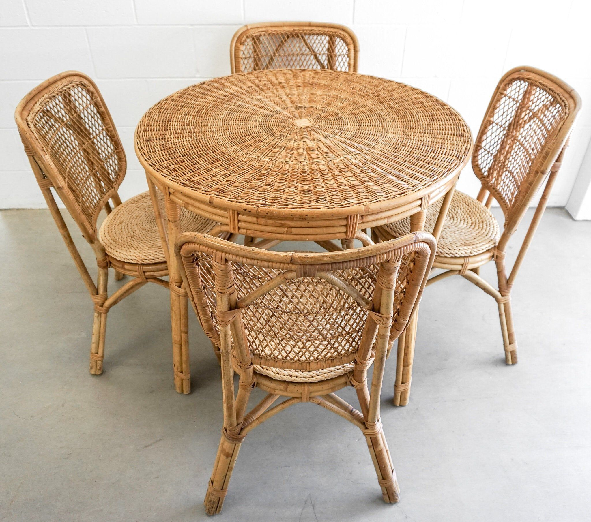 Excited To Share This Item From My Etsy Shop Vintage Bohemian Woven Bamboo Dining Table Set With 4 Chairs And Dining Table Setting Rattan Dining Table Chair