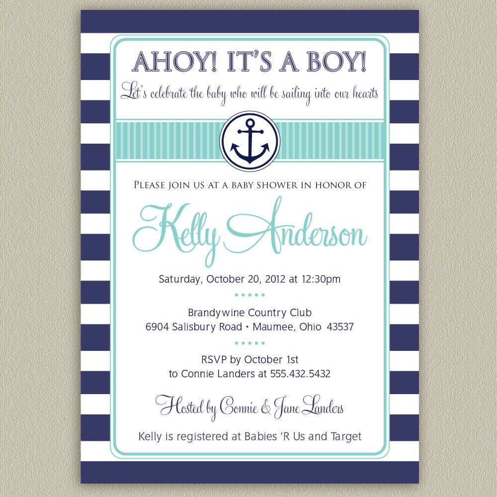 Ahoy Itu0027s A Boy   Nautical Striped Baby Shower Invitation With Anchor  Graphic  Printable DIY With Color Options