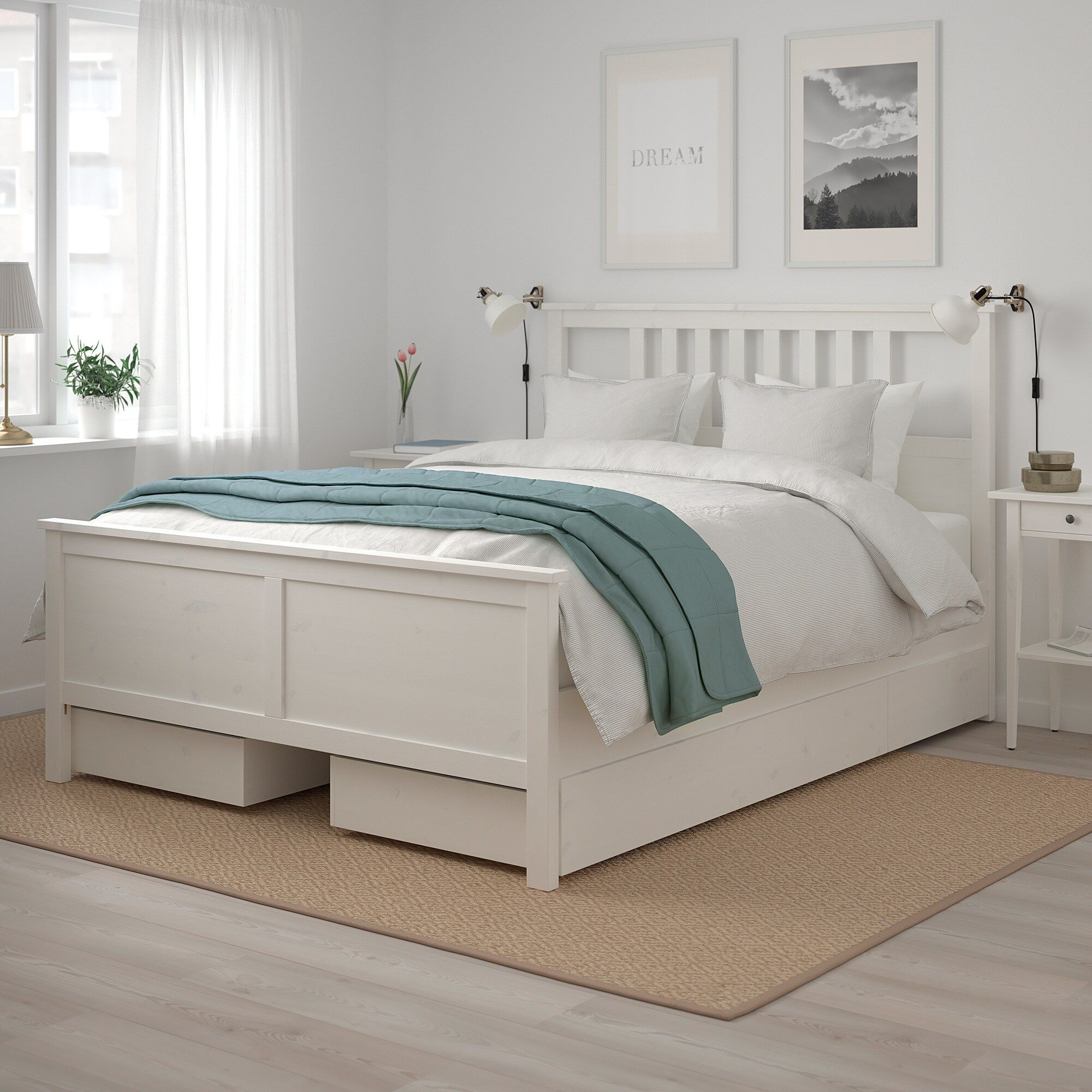 HEMNES white stain, Luröy, Bed with 4 storage boxes