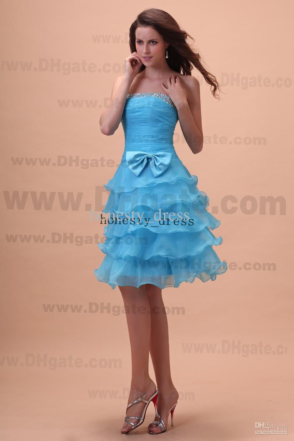 Sassy light blue a line organza junior bridesmaid dress strapless sassy light blue a line organza junior bridesmaid dress strapless knee length beaded sequin tiered the honor of bridemaids gowns ombrellifo Gallery