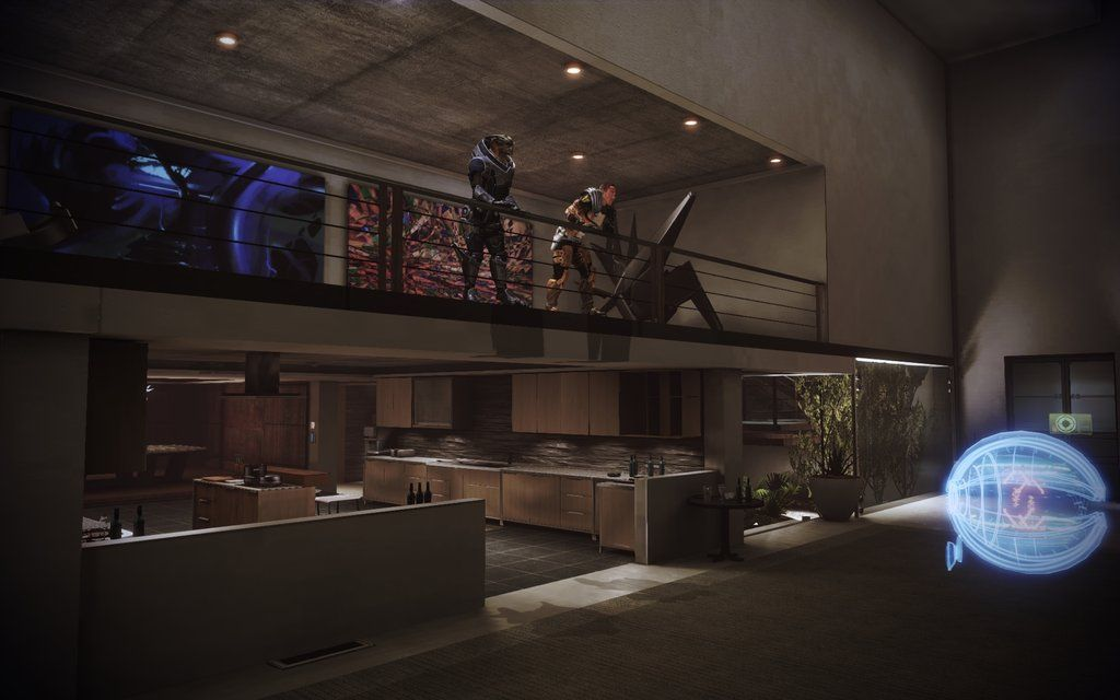 Mass Effect 3 Citadel Apartment Kitchen With Art Gallery Over