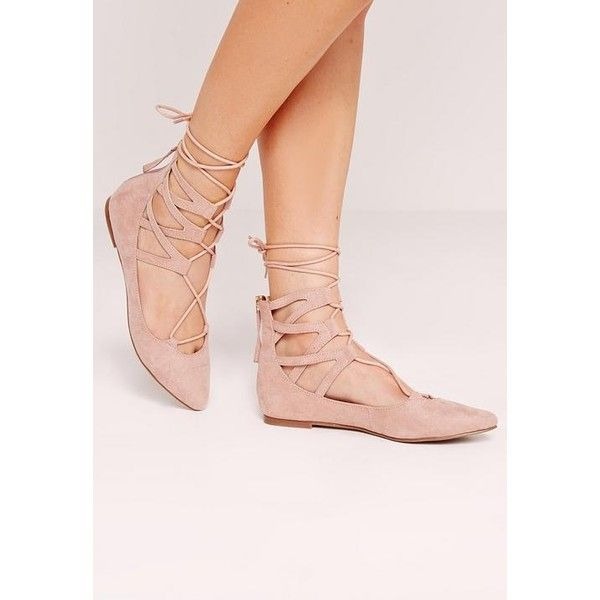 Missguided Ghillie Lace Up Pointed Flat Shoes ( 32) ❤ liked on Polyvore  featuring shoes 5c8c7dd07ad