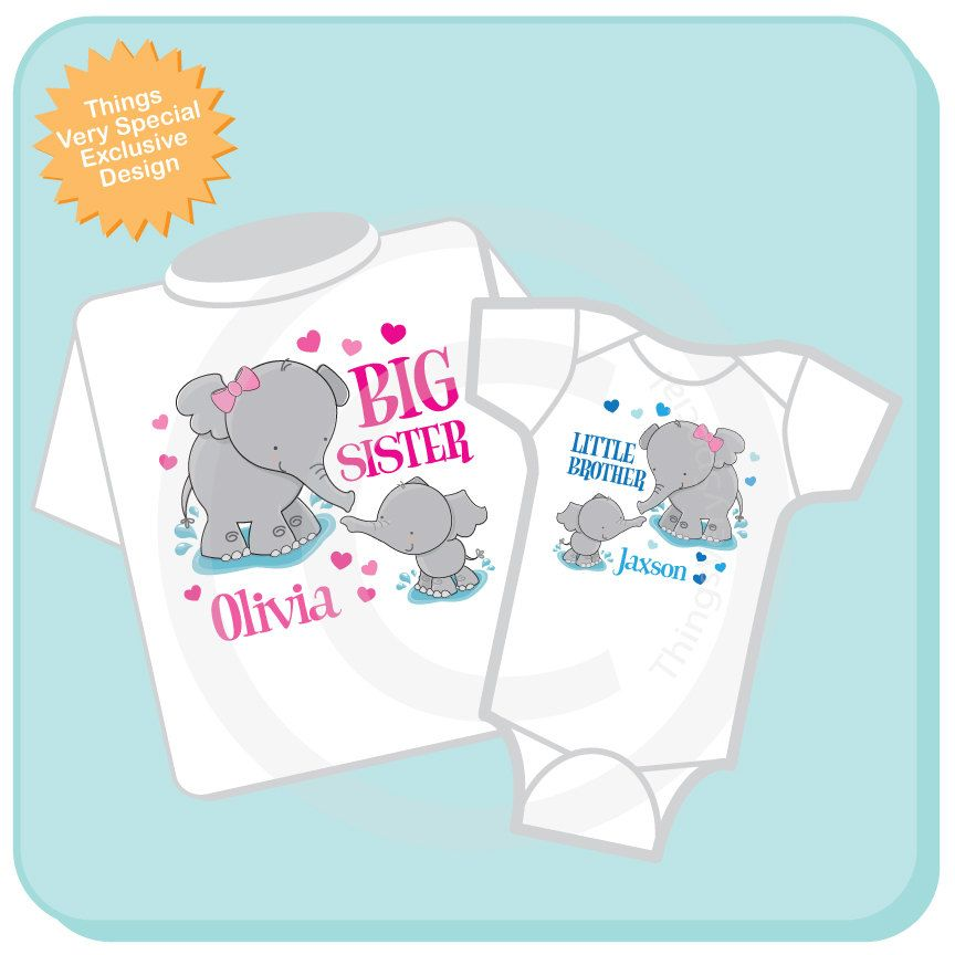 e3009b4b Next babys gift :-) Set of Two Personalized Elephant Big Sister and Little  Brother Shirt or Onesie Pregnancy Announcement. $26.98, via Etsy.