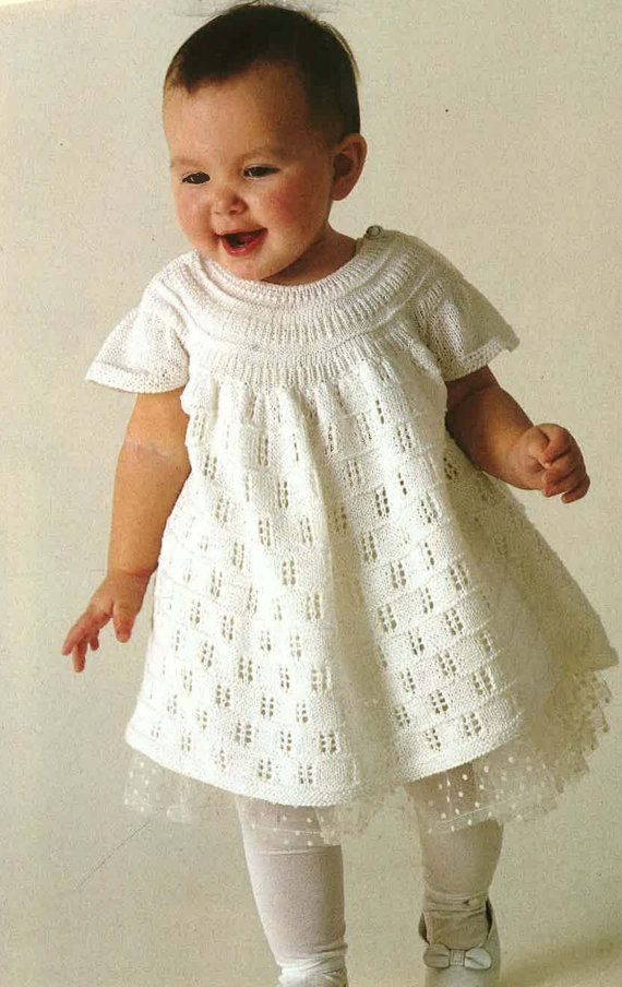 Babylace Knitted Dress With Cap Sleeves 1980s Knitting Pattern Pdf