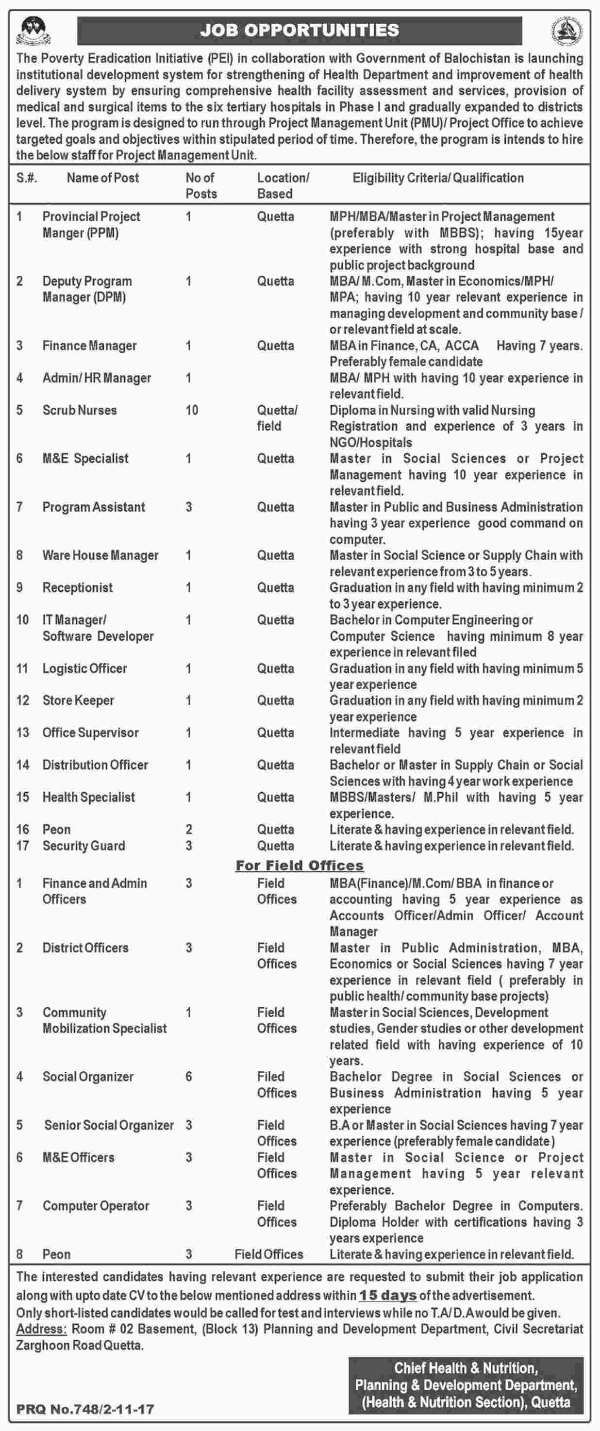 The Poverty Eradication Initiative Pei Jobs  In Quetta For