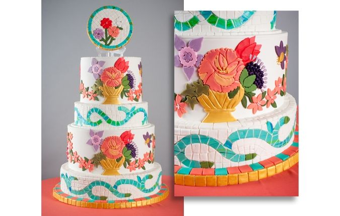 floralmosaicocakedesign Floral cutout flowers and edible mosaic