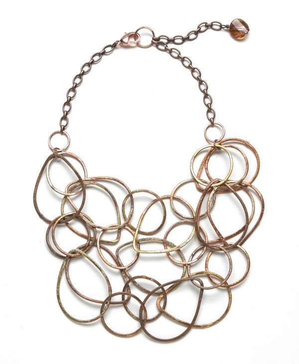 Copper Chain Bib necklace and earrings by cooljewelsbynaomi, $129.00