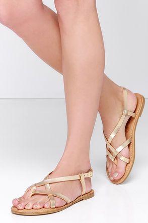 db7d5601a Cute Gold Sandals - Flat Sandals - Thong Sandals -  18.00
