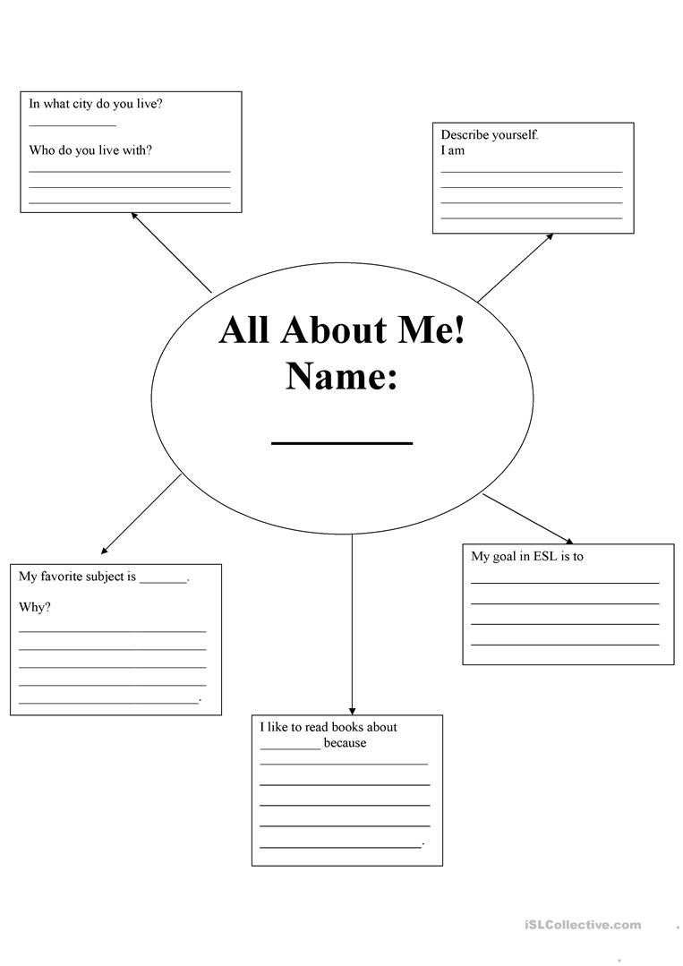 All About Me Introduction worksheet - Free ESL printable worksheets made by  teachers   All about me essay [ 1079 x 763 Pixel ]