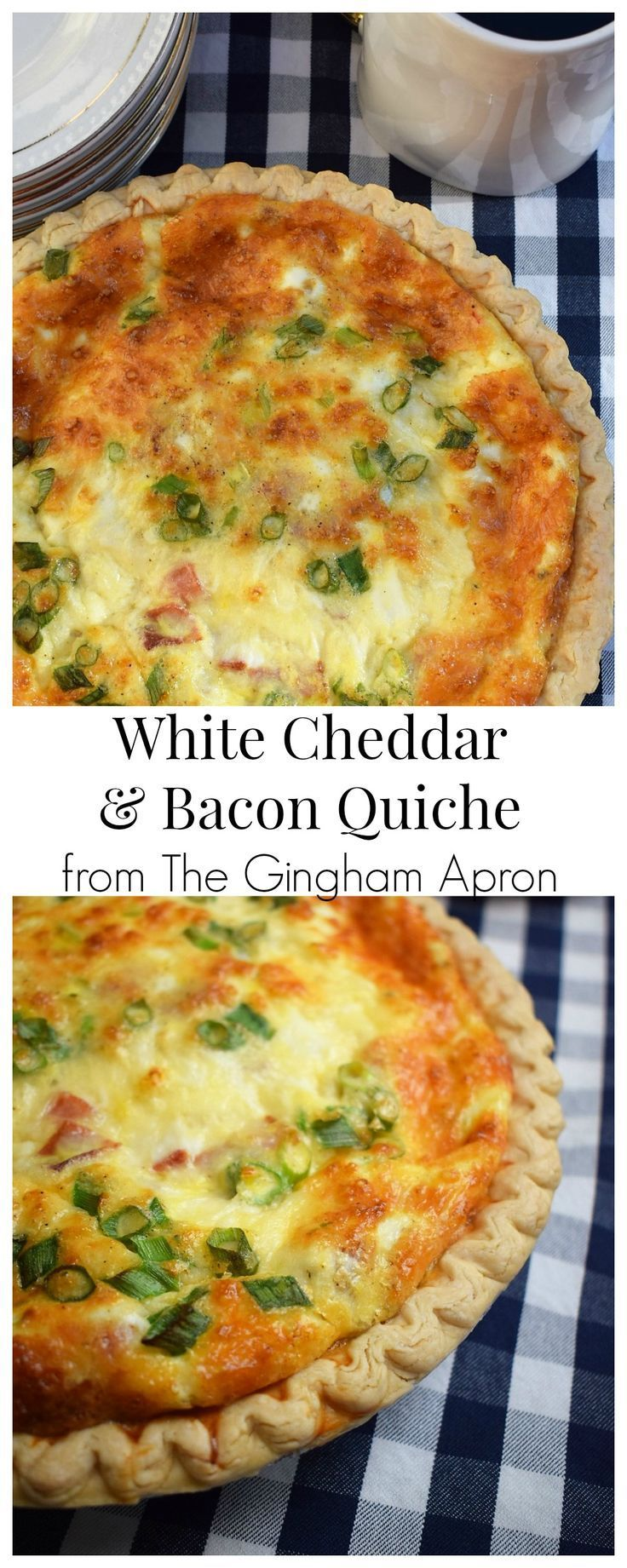 White Cheddar and Bacon Quiche | The Gingham Apron White Cheddar and Bacon Quiche- a scrumptious, c