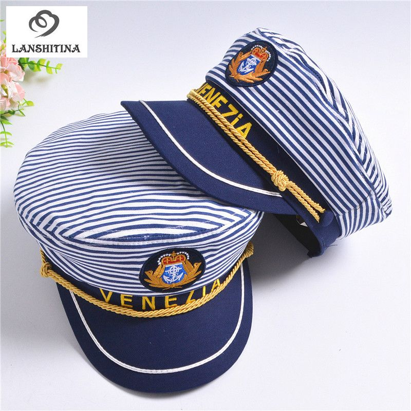 6fb518efc New Striped Navy Cap for Adult Children Fashion Military Captain ...