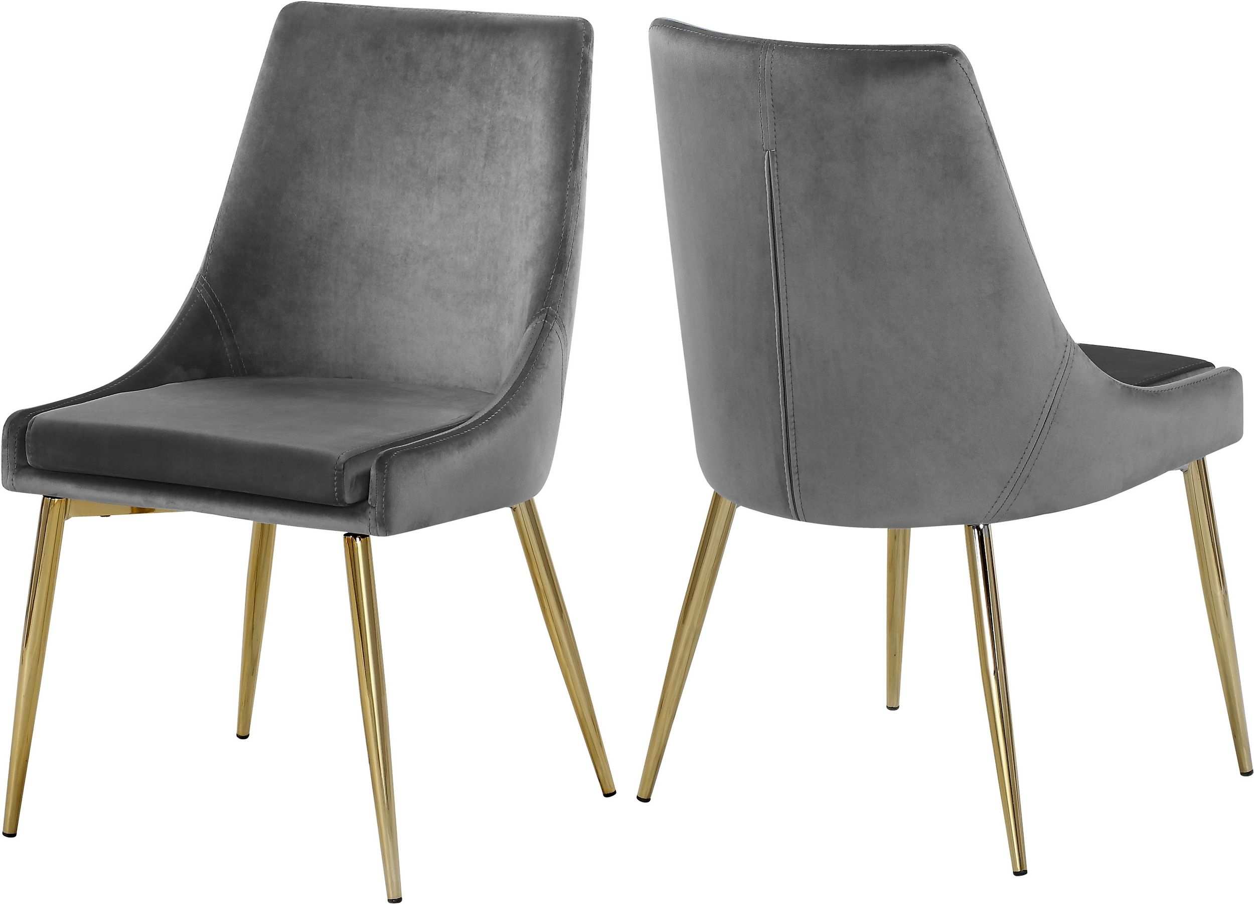 Meridian Karina Grey Velvet Dining Chair With Gold Base Set Of 2