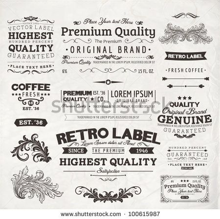 Retro elements for calligraphic designs | Vintage ornaments | Premium Quality labels | Guaranteed, Coffee and Genuine labels | eps10 vector ...