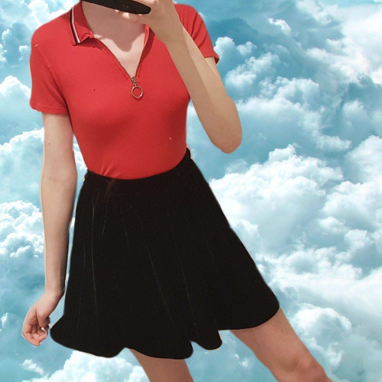 f7b48fd126 lovely black velvet american apparel skater skirt • no in - Depop - 12
