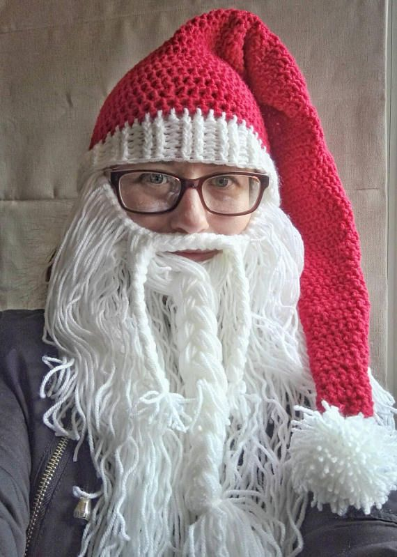 93446d831eb Detachable Santa beard hat crochet Santa hat with beard