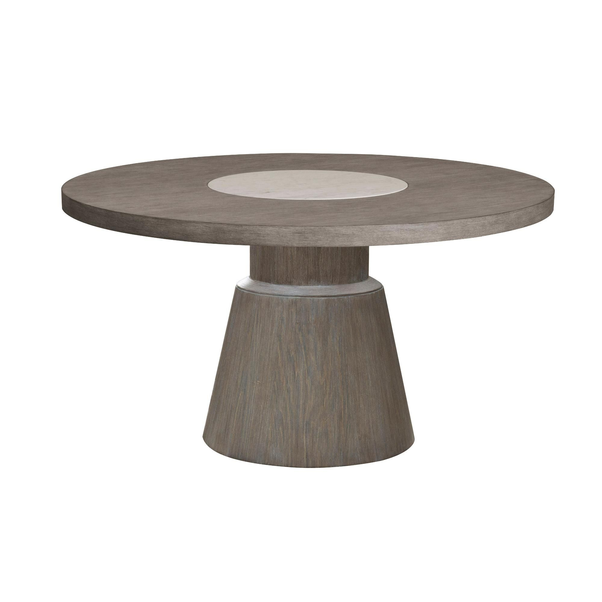 Gray And Taupe 54 Inch Round Dining Room Table Modern Eclectic