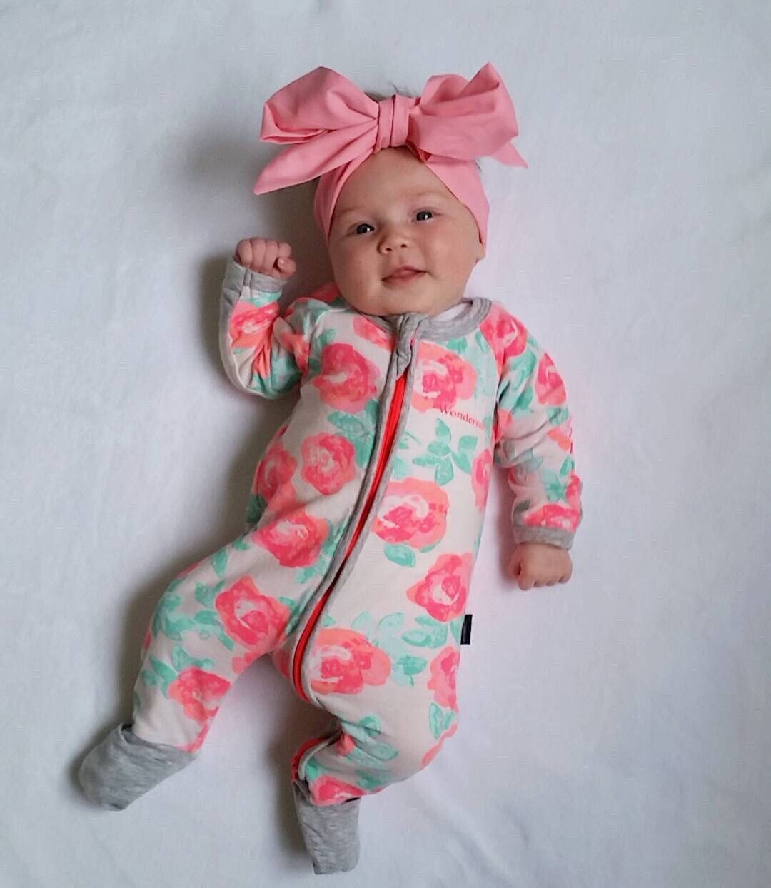 f0128e169 Newborn Baby Rose One Piece Outfit Long Sleeve Sleeper