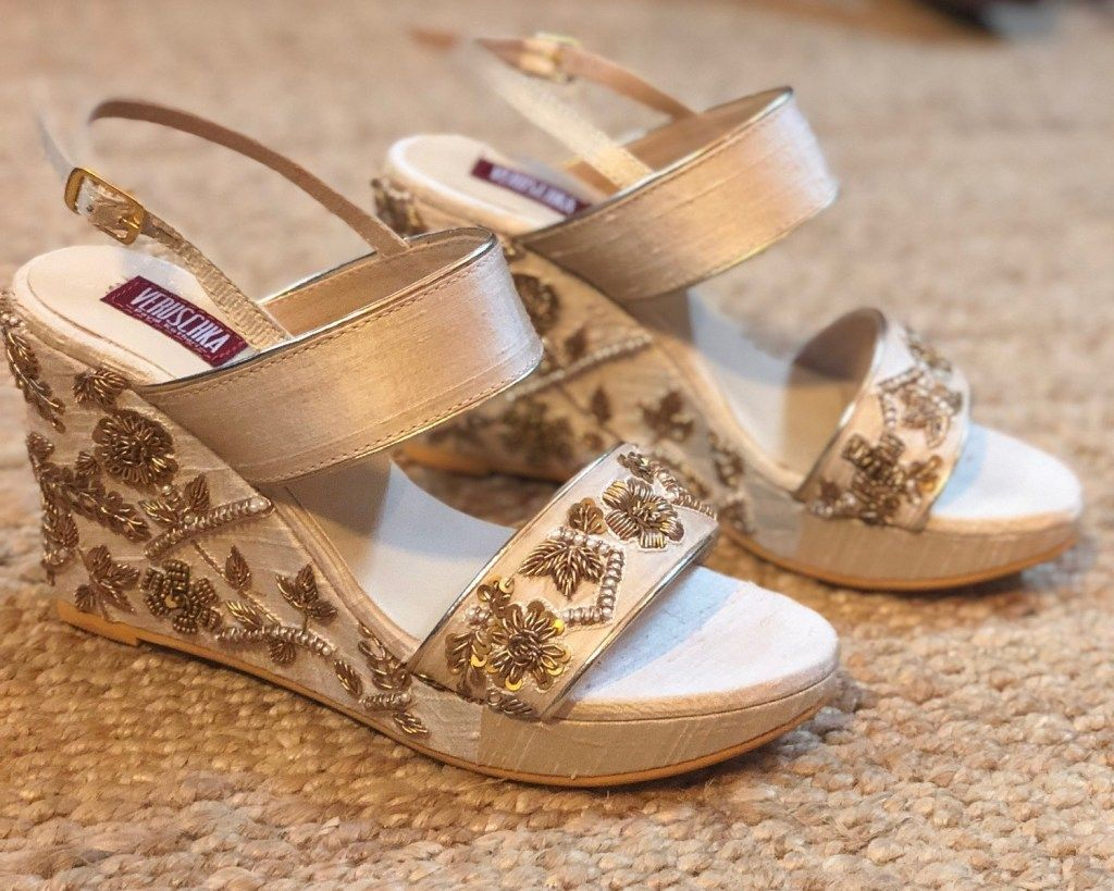c30eec55792 Ivory gold floral embroidered wedges by Veruschka. Click on picture to see  wedding shoes price.  Frugal2Fab