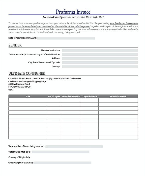 Journal Proforma Invoice templates , Proforma Invoice Template