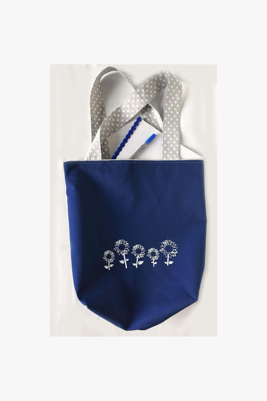 Blue and Gray Reusable Grocery Bag