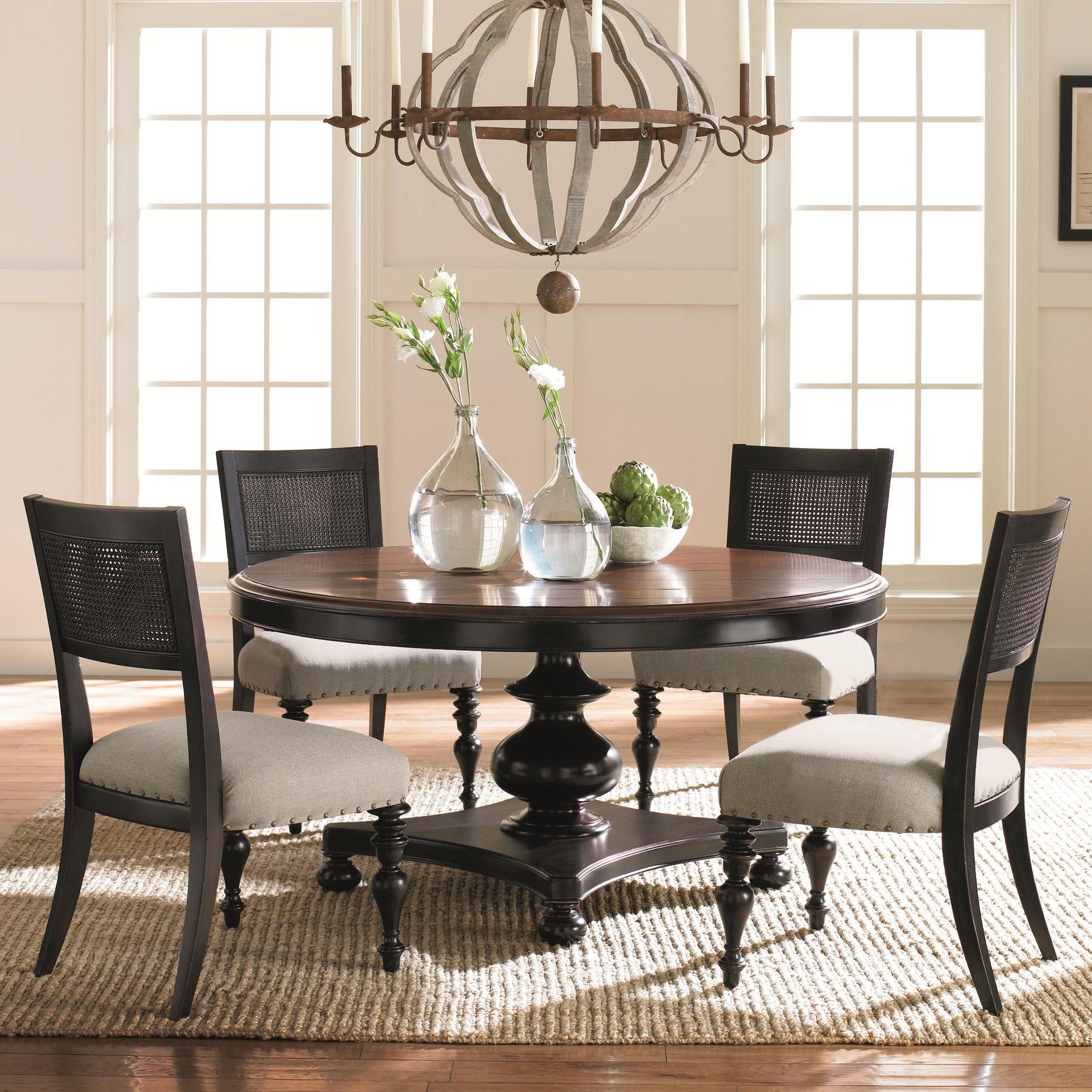 Home interior catalog american kaleidoscope pedestal table and cane back chair set by