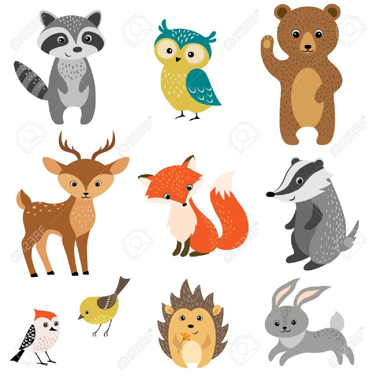 Woodland Stock Vector Illustration And Royalty Free Woodland Clipart Baby Animal Drawings Forest Animals Illustration Animal Stickers