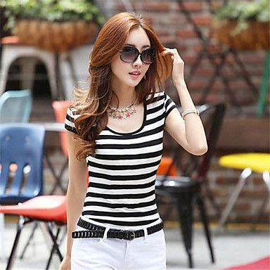 Tolo Women's Casual Round Short Sleeve T-Shirts (Cotton) – USD $ 9.99