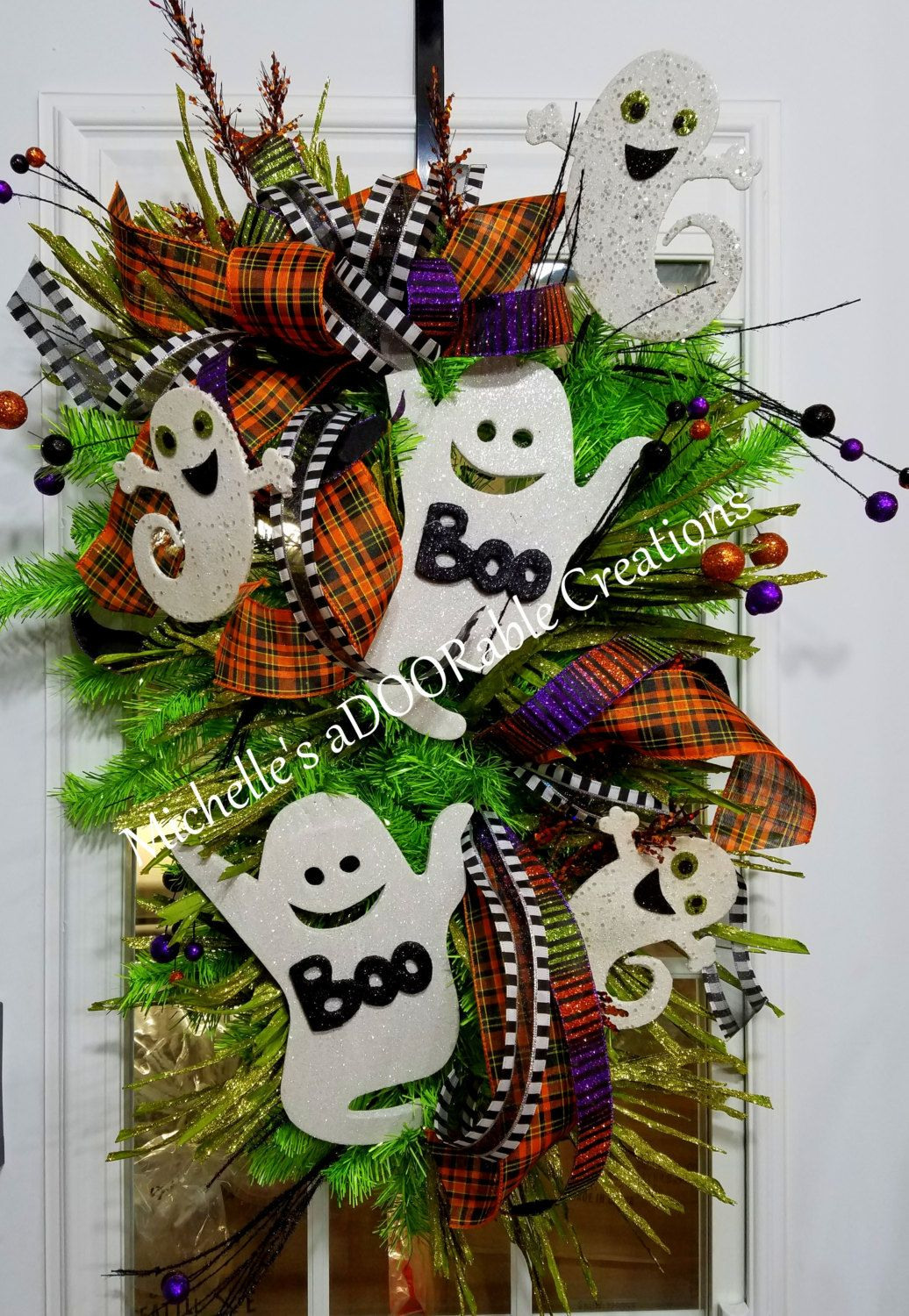 Halloween Ghost Wreath Swag - Boo Ghost Halloween Glitter Teardrop - Halloween Ghost Decorations