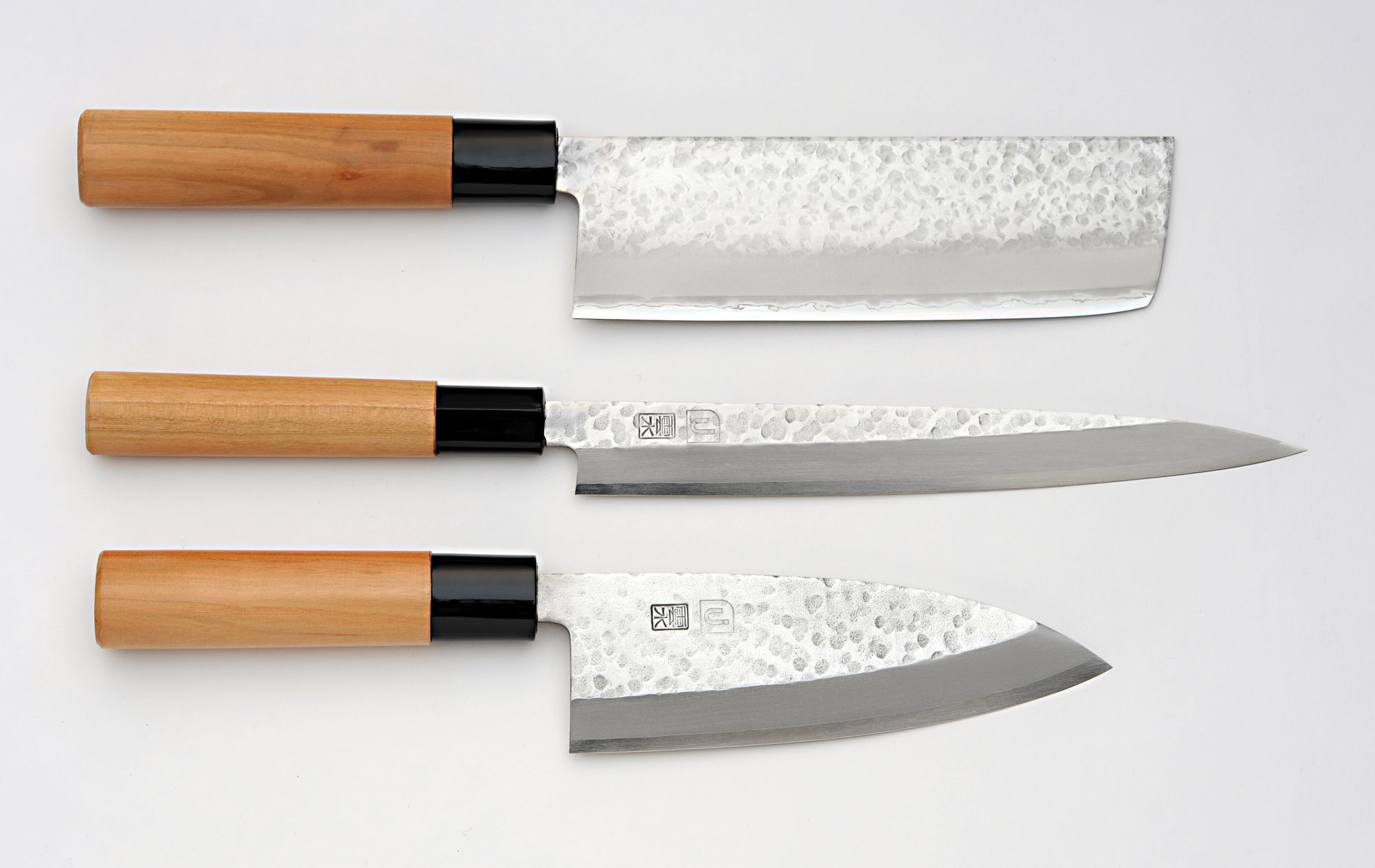 Unsui Japanese Traditional 3 Piece Knife Set Nakiri Yanagi Deba